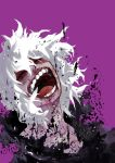 1boy bangs black_gloves blood blood_on_face boku_no_hero_academia closed_eyes collarbone commentary_request derivative_work facing_up gloves grey_hair grey_skin hair_between_eyes highres male_focus medium_hair open_mouth pote_to purple_background shigaraki_tomura solo torn_clothes white_hair