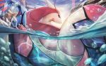 blue_sky bubble closed_mouth commentary day ganmenkurei_(ani) gen_3_pokemon light_rays looking_back milotic no_humans outdoors partially_submerged partially_underwater_shot pokemon pokemon_(creature) red_eyes rock shiny shiny_skin sky solo splashing water