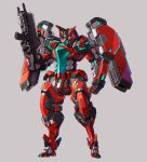 clenched_hand grey_background gun highres holding holding_gun holding_weapon joints looking_down mecha no_humans original robot_joints solo standing taedu visor weapon