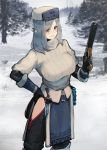 1girl black_gloves black_legwear breasts dagger day elbow_gloves gloves grey_hair gun hand_on_hip hat hayabusa highres holding holding_gun holding_weapon large_breasts medium_hair original outdoors ribbed_sweater solo standing sweater weapon winter