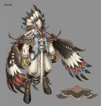 1boy armor bird brown_hair eagle english_text feathered_wings feathers grey_background highres hooves kahill male_focus mask medium_hair monster_boy monster_girl original pauldrons shoulder_armor simple_background skull sleeves_past_wrists solo standing talons tribal wings
