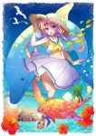 1girl :d bead_bracelet beads bird blonde_hair blue_background blush bracelet dolphin flower hair_between_eyes hand_on_headwear hat hibiscus jewelry kawanobe long_hair midriff navel open_mouth original outdoors palm_tree rainbow sandals school_of_fish school_uniform sea_turtle seagull serafuku skirt sleeveless smile straw_hat sun_hat tree turtle water white_skirt