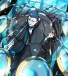 1boy bangs black_bow black_hair black_jacket black_neckwear black_pants blue_eyes blue_jacket bow bowtie collared_shirt fate/grand_order fate_(series) formal gloves jacket kaworu_(kaw_lov) long_sleeves looking_at_viewer looking_up male_focus neckwear pants sherlock_holmes_(fate/grand_order) shirt short_hair signature solo suit white_gloves white_shirt