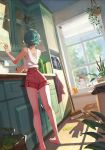 1girl against_window animal bangs casual cat commentary day dutch_angle english_commentary green_hair high-waist_shorts highres ilse_harting indoors kitchen kneepits long_legs original red_shorts shadow short_hair shorts solo_focus standing tank_top window