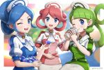 3girls :d ;) ;d bangs blue_eyes blue_hair blurry blurry_background breasts buttons commentary_request cowboy_shot cravat cup curti_(pokemon) disposable_cup employee_uniform eyebrows_visible_through_hair gem gonzarez green_hair hair_bun hair_rings hat highres holding holding_cup holding_gemstone long_hair looking_at_viewer medium_breasts multiple_girls nurse_cap one_eye_closed open_mouth pink_hair poke_ball_print pokemon pokemon_(game) pokemon_masters puffy_short_sleeves puffy_sleeves sakusa_(pokemon) short_sleeves sidelocks signature sitting skirt smile standing swept_bangs torika_(pokemon) twintails uniform upper_teeth white_skirt