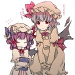 2girls bat_wings blue_hair book bow bowtie closed_eyes collared_dress commentary_request crescent crescent_moon_pin dress flying_sweatdrops hair_bow hat hat_bow hat_ribbon highres holding holding_book leaning_forward long_sleeves mob_cap multiple_girls patchouli_knowledge purple_bow purple_hair red_bow red_eyes remilia_scarlet ribbon sato_imo short_hair star_pin striped striped_dress sweatdrop touhou translation_request white_background wings younger