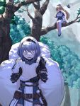 2girls armor backpack bag bangs belt black_gloves blonde_hair blue_collar blush breasts collar dark_skin detached_sleeves elf fingerless_gloves floating gloves gold_trim hair_between_eyes headdress high_ponytail highres holding holding_map hololive hololive_fantasy holstered_weapon in_tree kintsuba_(flare_channel) long_hair mace map mikan_(chipstar182) multiple_girls o_o open_mouth outdoors oversized_object pointy_ears ponytail pouch red_eyes shiranui_flare shirogane_noel short_hair shoulder_armor shoulder_cutout silver_hair single_thighhigh sitting sitting_in_tree sunlight tears thigh-highs tree virtual_youtuber watching weapon wrist_guards