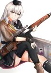 1girl absurdres assault_rifle black_gloves black_headwear black_legwear black_skirt boots brown_footwear brown_jacket character_name dragunov_svd eyebrows_visible_through_hair fingerless_gloves girls_frontline gloves grey_eyes grey_hair gun hand_on_own_knee hand_on_weapon hat highres holding holding_weapon huge_filesize jacket long_hair looking_at_viewer military military_hat military_uniform muteppona_hito rifle shirt silver_hair sitting sitting_on_floor skirt smile sniper_rifle solo svd_(girls_frontline) thigh-highs uniform weapon weapon_case white_background white_shirt