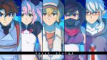 2girls 3boys animal_ears ayame_(gundam_build_divers) black_hair blue_eyes brown_eyes brown_hair china_dress chinese_clothes dress glasses green_eyes gundam gundam_build_divers gundam_build_divers_re:rise hat hidaka_yukio ko-1_(gundam_build_divers) mask mikami_riku momo_(gundam_build_divers) momoza_r multiple_boys multiple_girls ninja panda_ears pink_hair pointy_ears smile twitter_username violet_eyes white_hair
