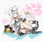 +_+ /\/\/\ 2girls animal_ears bangs bare_shoulders black_choker black_hair boots braid chibi choker commentary_request controller corn cup disposable_cup dog_tags eyebrows_visible_through_hair food fox fox_ears fox_girl fox_on_head fox_tail fur-trimmed_jacket fur_trim game_controller green_eyes hair_between_eyes hair_ornament hairclip highres holding holding_controller holding_food holding_game_controller hololive hololive_gamers jacket legs_up long_hair looking_at_viewer multiple_girls notice_lines ookami_mio open_clothes open_jacket orange_eyes paw_print pentagram playstation_controller redhead satorine shirakami_fubuki sidelocks simple_background single_braid sitting tail thigh_strap virtual_youtuber white_background white_hair white_jacket wolf_ears wolf_girl wolf_tail