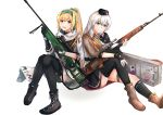 2girls absurdres assault_rifle black_footwear black_gloves black_headwear black_legwear black_skirt blonde_hair boots brown_footwear brown_jacket character_name dragunov_svd eyebrows_visible_through_hair fingerless_gloves girls_frontline gloves green_ribbon grey_eyes grey_hair gun hair_ribbon hairband hand_on_weapon hat highres holding holding_weapon huge_filesize jacket long_hair looking_at_viewer military military_hat military_uniform multiple_girls muteppona_hito open_mouth red_eyes ribbon rifle russian_flag shirt silver_hair sitting sitting_on_floor skirt smile sniper_rifle sv-98 sv-98_(girls_frontline) svd_(girls_frontline) tape thigh-highs uniform weapon weapon_case white_background white_jacket white_shirt