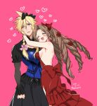 :3 aerith_gainsborough blonde_hair bow breasts cloud_strife dress drill_hair fang final_fantasy final_fantasy_vii final_fantasy_vii_remake frilled_sleeves frills hair_bow hair_ribbon heart hug krudears open_mouth pink_background red_dress ribbon sideboob smile spiky_hair