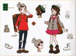1boy 1girl backpack bag bangs beanie boots brown_eyes brown_footwear brown_hair cardigan concept_art denim dress green_headwear green_legwear grey_cardigan hat holding holding_poke_ball jeans masaru_(pokemon) official_art open_mouth pants pink_dress poke_ball poke_ball_(basic) pokemon pokemon_(game) pokemon_swsh red_shirt scan shirt shoes short_hair sleeves_rolled_up smile socks suitcase tam_o'_shanter translation_request yuuri_(pokemon)