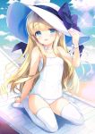1girl arm_up beach blonde_hair blue_eyes bow casual_one-piece_swimsuit choker clouds emily_(pure_dream) hand_on_headwear hat hat_ribbon long_hair neck_ribbon ocean one-piece_swimsuit open_mouth original outdoors ribbon sitting sky smile solo sun_hat swimsuit thighs white_headwear white_swimsuit wind wrist_ribbon