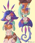 1girl absurdres artist_name bare_shoulders blue_hair breasts closed_mouth collarbone commentary flower gloves hair_flower hair_ornament hands_on_own_chest highres jewelry league_of_legends lizard_girl lizard_tail long_hair looking_at_viewer midriff monster_girl multicolored_hair multiple_views navel neeko_(league_of_legends) patreon_logo pink_hair shellvi short_hair simple_background small_breasts smile strap_slip tail upside-down v vastaya yellow_background yellow_eyes