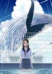 1girl absurdres arms_at_sides black_hair blue_sky clouds day droplets fence ghost highres long_hair looking_at_viewer original outdoors pool school_uniform see-through serafuku shirt short_sleeves sky solo un_(un0044) violet_eyes wading water wet whale white_shirt