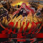 4girls arknights bass_guitar blonde_hair drum drumsticks green_hair instrument loudspeaker microphone multiple_girls official_art red_eyes redhead road_sign sign sunset television yellow_eyes