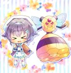 >_< 1girl apron bangs blue_flower blue_shirt blue_skirt blush chibi closed_eyes commission crossover eyebrows_visible_through_hair facing_viewer floral_background flower flying_sweatdrops gen_4_pokemon grey_footwear grey_hair hair_between_eyes hair_ornament hand_up head_scarf jingei_(kantai_collection) kantai_collection kneehighs kouu_hiyoyo long_sleeves looking_at_viewer open_clothes open_mouth pink_flower pleated_skirt pokemon pokemon_(creature) shirt skirt sleeves_past_wrists standing striped striped_background sweat vertical_stripes vespiquen waist_apron wavy_mouth white_apron white_headwear white_legwear yellow_background
