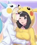2girls bangs black_hair blonde_hair blush breasts buttons closed_eyes collarbone commentary_request cosplay eyebrows_visible_through_hair eyelashes gen_1_pokemon gen_4_pokemon grey_eyes heart highres hood hood_up kiss lillie_(pokemon) long_hair long_sleeves looking_at_another mizuki_(pokemon) mizuumi_(bb) multiple_girls one_eye_closed open_mouth pachirisu pachirisu_(cosplay) pikachu pikachu_(cosplay) pokemon pokemon_(game) pokemon_sm teeth upper_teeth yuri