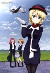 3girls :d absurdres aircraft airplane bag bangs black_jacket black_legwear black_skirt blonde_hair blue_eyes blue_sky braid closed_mouth clouds collared_shirt darjeeling_(girls_und_panzer) day eyebrows_visible_through_hair field girls_und_panzer gloves hair_ribbon hat highres holding holding_bag holding_notepad jacket megami mountain mountainous_horizon multiple_girls neckerchief notepad official_art open_clothes open_jacket open_mouth orange_hair orange_pekoe_(girls_und_panzer) outdoors pantyhose pencil_skirt propeller red_neckwear redhead ribbon rosehip_(girls_und_panzer) runway shirt skirt sky smile stewardess turtleneck white_gloves white_shirt yellow_eyes