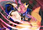 1girl animal_ear_fluff animal_ears bare_shoulders blood blood_splatter blue_kimono blue_ribbon detached_sleeves eyebrows_visible_through_hair fang fate/extella fate/extra fate/grand_order fate_(series) fox_ears fox_girl fox_tail hair_ribbon japanese_clothes kimono looking_at_viewer looking_back nail_polish open_mouth pink_hair ribbon solo tail tamamo_(fate)_(all) tamamo_no_mae_(fate) wisespeak yellow_eyes