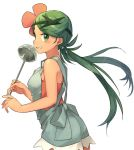 1girl bangs blush breasts chorefuji commentary_request eyebrows_visible_through_hair eyelashes floating_hair flower green_eyes green_hair hair_flower hair_ornament holding holding_ladle ladle long_hair looking_at_viewer looking_to_the_side mao_(pokemon) overalls parted_lips pokemon pokemon_(game) pokemon_sm simple_background solo swept_bangs teeth trial_captain twintails white_background