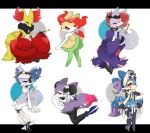6+girls alternate_color alternate_shiny_pokemon animal_ear_fluff animal_ears black_bow black_flower black_gloves black_ribbon black_skirt blue_ribbon blush bonnet bow braixen bun_cover claws closed_mouth clothed_pokemon commentary_request corset_piercing delphox detached_collar double_bun ear_piercing eyeshadow flat_chest flower fork fox_ears fox_tail frilled_skirt frills from_behind full_body fur_trim furry gen_6_pokemon gloves glowing glowing_eyes hair_bow hair_flower hair_ornament hair_ribbon half-closed_eyes hand_up happy highres holding indian_style jpeg_artifacts legs_together letterboxed looking_at_viewer looking_back makeup microskirt multiple_girls orange_eyeshadow paws piercing pink_bow pipe pokemon pokemon_(creature) purple_ribbon red_bow red_eyes ribbon romeo_(romeo_pic) rose see-through shiny_pokemon simple_background sitting skirt smile standing star_(symbol) starfish_hair_ornament stick tail teardrop_tattoo topless white_background white_bow white_flower white_legwear white_ribbon white_rose zipper zipper_pull_tab