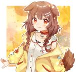 1girl animal_ears bangs bone_hair_ornament braid brown_hair cartoon_bone collar collarbone commentary_request dog_ears dog_girl dog_tail dress eyebrows_visible_through_hair fang fang_out highres hololive inugami_korone jacket long_hair long_sleeves looking_at_viewer low_twin_braids off_shoulder outline red_collar red_eyes sleeveless sleeveless_dress smile solo suicchonsuisui tail twin_braids virtual_youtuber white_dress white_outline yellow_jacket