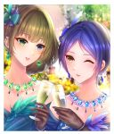 2girls :d absurdres alcohol bangs blue_eyes blue_hair blurry blurry_background bracelet brown_hair cup drinking_glass earrings eyebrows_visible_through_hair feather_earrings feathers gloves green_eyes hair_ornament hayami_kanade heterochromia highres huge_filesize idolmaster idolmaster_cinderella_girls jewelry lace lace_gloves light_blush mole mole_under_eye multiple_girls nyome991 one_eye_closed open_mouth short_hair smile takagaki_kaede upper_body upper_teeth wine wine_glass yellow_eyes