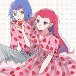 1boy 1girl atsumi_yoshioka blue_eyes food food_print fruit green_eyes kojirou_(pokemon) lavender_hair musashi_(pokemon) pokemon redhead strawberry strawberry_print team_rocket