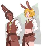 animal_ears arms_behind_back blonde_hair blush brit_(d-rex) brown_hair brown_pants brown_shorts bunny_boy bunny_girl bunny_ornament commentary cowboy_shot crop_top d-rex dark_skin dark_skinned_male green_eyes hair_over_one_eye highres long_sleeves looking_at_another midriff navel original pants rabbit_ears shirt short_hair short_shorts shorts tail vest white_shirt