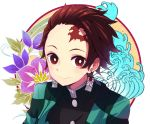 1boy amagasa_nadame black_jacket brown_hair checkered closed_mouth commentary_request earrings facial_scar floral_background forehead forehead_scar highres jacket jewelry kamado_tanjirou kimetsu_no_yaiba looking_at_viewer male_focus open_clothes red_eyes scar signature smile solo upper_body white_background