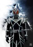 1boy armor belt cel_shading commentary cowboy_shot helmet highres kamen_rider kamen_rider_555 kamen_rider_delta kyo_(osaka) male_focus neon_trim rider_belt signature solo tokusatsu triangle