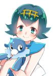 1girl aqua_eyes aqua_hair ashuko bangs bare_arms blush closed_mouth commentary_request eyebrows_visible_through_hair gen_7_pokemon gold_hairband hairband holding holding_pokemon looking_at_viewer pokemon pokemon_(creature) pokemon_(game) pokemon_sm popplio sailor_collar shirt short_hair sleeveless smile suiren_(pokemon) upper_body white_background