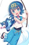 1girl bangs blue_eyes blue_hair blue_sailor_collar blush commentary_request covered_navel fishing_line fishing_rod hairband holding holding_fishing_rod looking_at_viewer one-piece_swimsuit open_mouth pokemon pokemon_(creature) pokemon_(game) pokemon_sm sailor_collar shirt short_hair sleeveless smile suiren_(pokemon) swimsuit swimsuit_under_clothes tongue trial_captain wagashi928