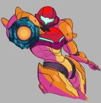 1girl aiming aiming_at_viewer arm_cannon chef033 grey_background leaning_back looking_at_viewer metroid power_armor samus_aran solo visor weapon