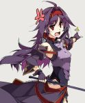 1girl ahoge anger_vein bangs bare_shoulders breastplate commentary_request dated detached_sleeves eyebrows_visible_through_hair fingerless_gloves gloves hair_between_eyes hairband highres holding holding_sword holding_weapon leotard long_hair long_sleeves looking_to_the_side open_mouth pointy_ears purple_gloves purple_hair red_eyes red_hairband shikei simple_background solo standing sword sword_art_online v-shaped_eyebrows very_long_hair weapon yuuki_(sao)