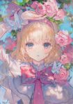 alice_margatroid bangs blonde_hair blue_eyes bug butterfly capelet flower frills hairband highres insect lolita_hairband looking_at_viewer maccha_(mochancc) nail_polish pink_flower pink_hairband pink_nails pink_rose rose short_hair short_sleeves touhou