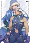 2boys archer_alter armor blue_hair broken_armor chest cover cover_page cu_chulainn_(fate)_(all) cu_chulainn_(fate/grand_order) dark_skin dark_skinned_male doujin_cover doujinshi earrings emya english_text fate/grand_order fate/stay_night fate_(series) fingerless_gloves gloves grey_eyes hand_over_another's_eyes hood jewelry male_focus multiple_boys muscle navel pectorals red_eyes short_hair white_hair yaoi