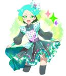 1girl aqua_hair character_request copyright_request cropped_legs dress fang frilled_dress frills green_dress green_eyes green_hair highres holding holding_clothes holding_dress long_sleeves looking_at_viewer moudoku_(decopon3rd) multicolored_hair open_mouth puffy_long_sleeves puffy_sleeves short_eyebrows short_hair solo sparkle sparkle_print thigh-highs two-tone_hair upper_body