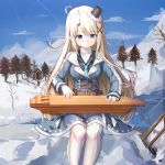 1girl absurdres ahoge belt blonde_hair blue_eyes blue_jacket breasts brown_belt clouds day hamster_(hanmster) hat highres huge_filesize instrument jacket kantele long_hair long_sleeves medium_breasts military military_jacket military_uniform mini_hat music outdoors pantyhose playing_instrument sitting snow solo tree uniform vainamoinen_(warship_girls_r) warship_girls_r white_legwear winter