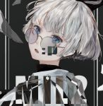 1boy absurdres bishounen black_background blue_eyes emoticon fang glass_shards glasses highres looking_at_viewer looking_back mile_(mil2) open_mouth original round_eyewear silver-framed_eyewear silver_hair solo upper_body white_hoodie