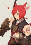 1boy animal_ears arm_tattoo armor belt blue_eyes blush bow_(weapon) closed_fan crow0cc crystal_exarch ear_wiggle eating eyebrows_visible_through_hair eyes_visible_through_hair fan final_fantasy final_fantasy_xiv flying_sweatdrops folding_fan food food_on_face g'raha_tia grey_background heart heterochromia highres holding holding_food male_focus miqo'te neck_tattoo ponytail red_eyes redhead sandwich simple_background smile solo sweatdrop tattoo vambraces weapon weapon_on_back