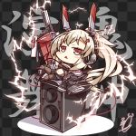 1girl ayanami_(azur_lane) ayanami_(rock'n_kijin)_(azur_lane) azur_lane benizika black_legwear blush_stickers box chibi coat commentary_request full_body hair_ornament hairclip headgear headphones highres lightning_bolt long_hair looking_at_viewer midriff navel pantyhose parted_lips ponytail retrofit_(azur_lane) shorts signature silver_hair sitting sitting_on_box sleeves_past_wrists solo speaker sword triangle_mouth weapon wide_sleeves