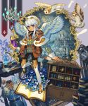 absurdres argyle belt_pouch bird book book_stack bunsen_burner cabinet carving chandelier chouette_(pixiv_fantasia_age_of_starlight) clock copyright_name cross crystal desk feather_trim feathers full_body globe grandfather_clock highres huge_filesize jewelry long_sleeves open_book owl paper picture_(object) pixiv_fantasia pixiv_fantasia_age_of_starlight pouch quill rug sidelocks skull standing standing_on_one_leg sumika_inagaki test_tube uniform white_hair white_headwear white_legwear white_wings wings