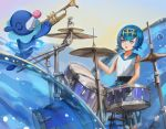 1girl bangs bare_arms blue_eyes blue_hair blue_pants blue_sailor_collar capri_pants commentary drum drum_set eyebrows_visible_through_hair gen_7_pokemon gold_hairband hairband holding instrument music nib_pen_(medium) open_mouth pants playing_instrument pokemon pokemon_(creature) pokemon_(game) pokemon_sm popplio sailor_collar shirt short_hair sitting sk_tori sleeveless sleeveless_shirt smile stool suiren_(pokemon) swimsuit swimsuit_under_clothes traditional_media trial_captain trumpet