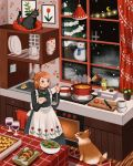 1girl :q animal animated animated_gif apron black_cat black_dress black_eyes blinking boiling bottle bowl brown_hair cabinet cat cooking counter crescent_moon croissant cup cupboard curtains cushion cutting_board dated_commentary dog dress drinking_glass english_commentary fence floating floral_print food hair_ornament hairclip heart heart_hair_ornament heart_necklace highres holding indoors kitchen kitchen_knife ladle levitation magic mittens mituhati moon night note original painting_(object) pie pine_tree plant polka_dot pot potted_plant print_apron rug salad salad_bowl salt_shaker sauce sink smile snowing snowman soup spatula standing steam stove string_of_light_bulbs tail tail_wagging tasting tomato tongue tongue_out tree twintails wallpaper_(object) white_apron window wine_glass wooden_floor
