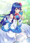 1girl alternate_costume ameno_(a_meno0) bare_shoulders blue_bow blue_butterfly blue_eyes blue_flower blue_hair blue_ribbon blush bouquet bow bridal_veil bride bride_(fire_emblem) bug butterfly closed_mouth dress eyebrows_visible_through_hair fire_emblem fire_emblem_awakening fire_emblem_musou flower grass hair_between_eyes hair_flower hair_ornament holding holding_bouquet holding_flower insect lips long_hair lucina lucina_(fire_emblem) outdoors pink_butterfly pink_flower purple_flower purple_rose red_flower ribbon rose sitting solo strapless strapless_dress symbol-shaped_pupils tiara veil wedding_dress white_dress