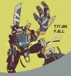 butsuzo_ex copyright_name glowing holding holding_sword holding_weapon looking_up mecha no_humans open_hand over_shoulder ronin_(titanfall_2) solo squatting sword titanfall titanfall_2 weapon