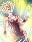 1boy aura blonde_hair blue_eyes bracer bruise clenched_hands dragon_ball dragon_ball_z electricity highres injury male_focus mattari_illust muscle smile solo son_gohan spiky_hair standing super_saiyan super_saiyan_2 v-shaped_eyebrows